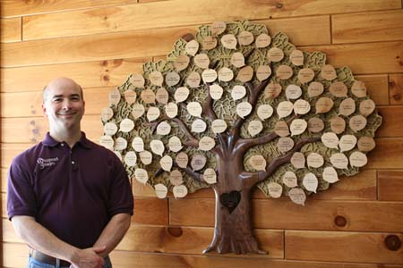 Paul Proffitt with the Tree of Life Donor Recognition Tree